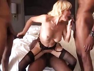 Blonde mature gilf black cock gangbang