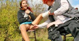 Old pervert seduces teen girl with broken leg
