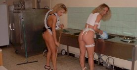 2 submissives housemaids in kitchen