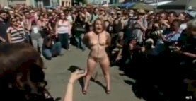 BDSM slut at Folsom street festival.