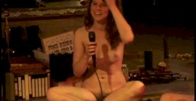 ENF - Brunette Strips Nude on Stage with Strangers