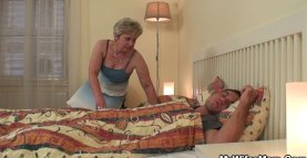 Old mother in law wakes him up for taboo sex