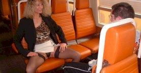 Nasty Mom and virgin boy in train